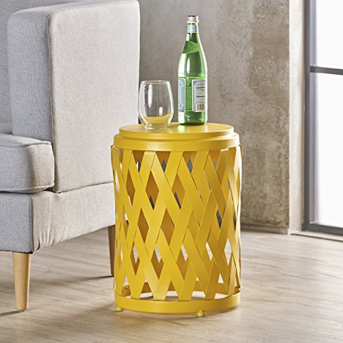 Perciad Indoor 12 Inch Diameter Lattice Matte Yellow Iron Side Table