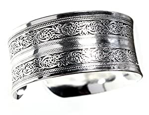 Exotic Silvertone Cuff Bracelet with Curved Edges for Comfort Wear