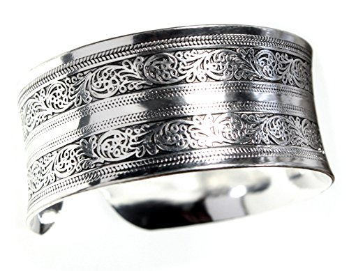 Exotic Silvertone Cuff Bracelet with Curved Edges for Comfort (Edge Cuff Bracelet)