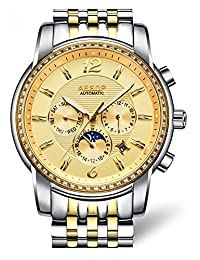 Fanmis Stainless Steel Moon Phase Automatic Mechanical Waterproof Calendar Luminous Men Watch Silver Gold