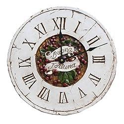 Italian Decor Wall Clock with the Words Buona Fortuna