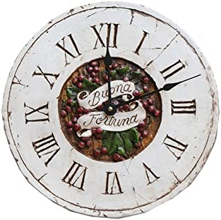 product image for Piazza Pisano Art by Al Pisano Italian Decor Wall Clock with The Words Buona Fortuna