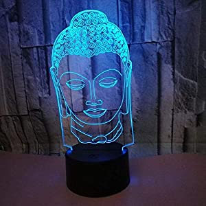 3D Buddha Night Light 7 Colors Changing USB Power Touch Switch Decor Lamp Optical Illusion Lamp LED Table Desk Lamp Children Kids Brithday Christmas Gift