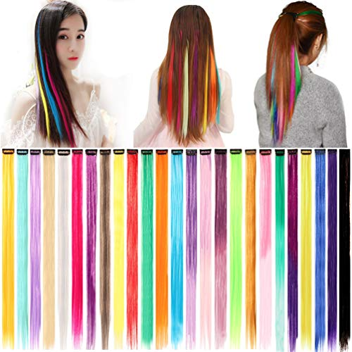 KINGMAS 25pcs Colorful Hair Extension Party Highlights Multi-colors Clip in Hair Synthetic Hairpieces (20 inch)