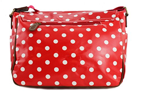 Ladies Girls Lunares Mantel De Hule Bolso bandolera hombro Crossbody Bolsa Red