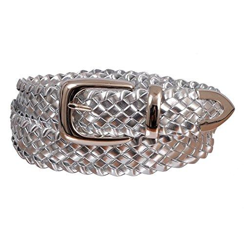 Braided Metallic Leather Belt - Women's Faux Leather Metallic Braid Belt With Metal Buckle Silver Small