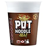Pot Noodle Beef & Tomato Flavour - 90g - Pack of 4 (90g x 4)