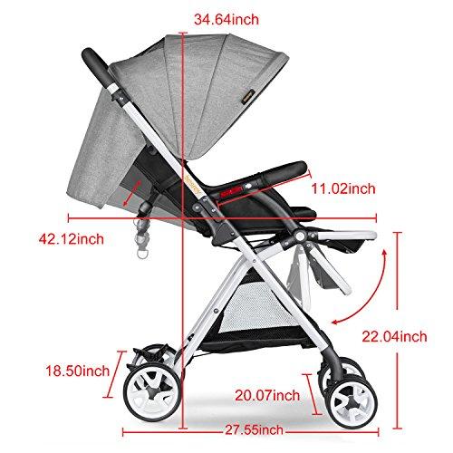 Besrey Lightweight Foldable Baby Stroller - Gray by besrey (Image #8)