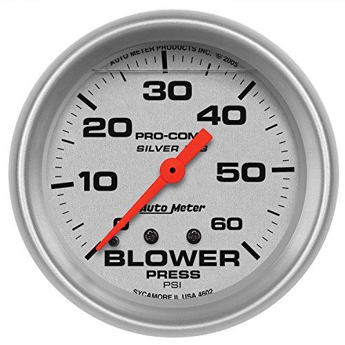 Auto Meter 4602 Silver LFGs Blower Pressure Gauge (Mechanical Blower Pressure Gauge)