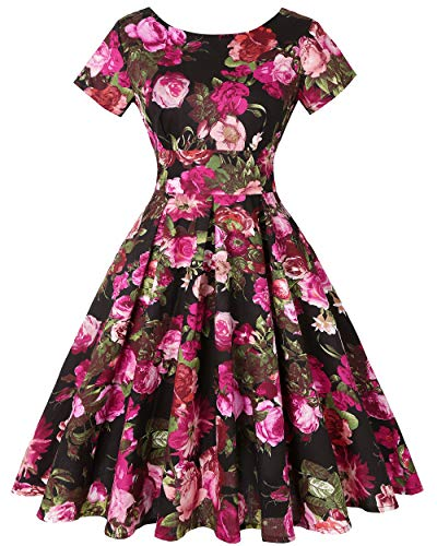 MINTLIMIT Women Vintage 1950s Retro Rockabilly Banquet Short Sleeve Pleated Dress (Floral Fuchsia,Size L) -
