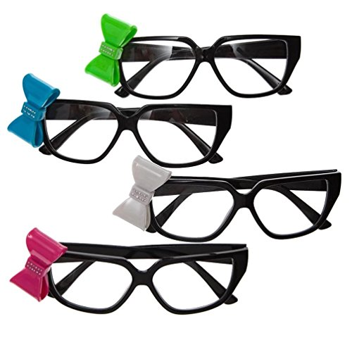 Rhode Island Novelty Black Nerd Glasses With Bow