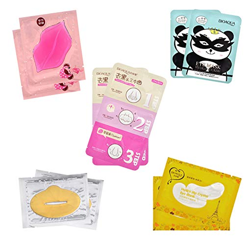 Lip Plumper Gel - CCBeauty Under Eye Gel Pads Patches for Eye Bag Dark Circle Treatment Remover Lip Mask Nose Blackhead Strip Mix Style 10Pcs
