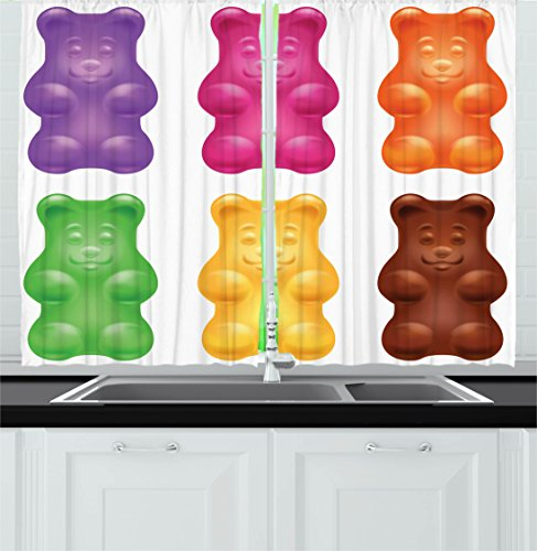Ambesonne Children Kitchen Curtains, Colorful Jelly Gummy Be