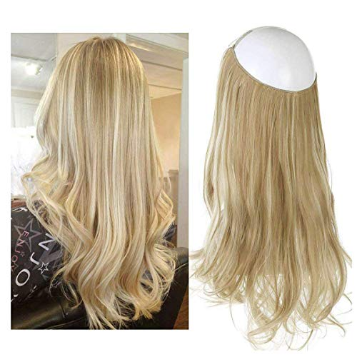 "SARLA 14"" Wavy Synthetic Short Halo Secret Hair Extensions Ash Blonde Balayage Natural Hairpieces No Clip No Glue No Tape 3.8oz M04&16H613"