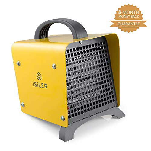 ISILER Space Heater, 1500W Portable Indoor Heater, Ceramic Space Heater with Adjustable Thermostat Overheat Protection, Hot Cool Fan Electric Heater for Home Office Garage with ETL Certified