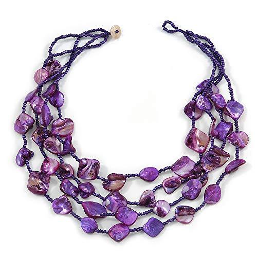 Avalaya Multistrand Purple Sea Shell and Glass Bead Necklace - 60cm Long