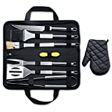 MARNUR BBQ Barbecue Set Tools Kit Tool with 7 Barbecue Accessories for Grilling Camping Picnic Spatula Fork Grill Brush Spatula Tongs with Multiple BBQ Tools and Carrying Case