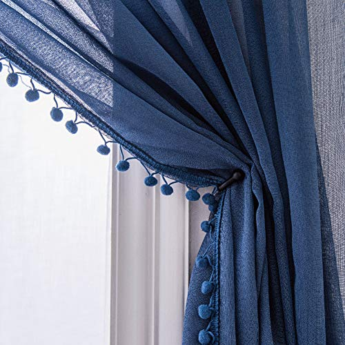 Selectex Linen Look Pom Pom Tasseled Sheer Curtains - Rod Pocket Voile Curtains for Living and Bedroom, Set of 2 Curtain Panels (52 x 84 inch, Indigo)