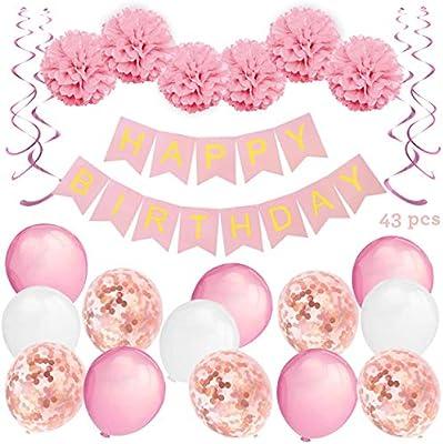 KUUBIA Kit Decoración Fiesta Cumpleaños Niña - Pancarta Happy Birthday, Pompones de Papel, Globos, Globos Confeti, Serpentinas - Conjunto Rosa y ...