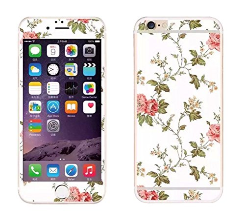 Dreams Mall(TM)Apple iPhone 6/6S 4.7 inch,Flowers Pattern Series Tempered Glass Screen Protector Film Decal Skin Sticker Front & Back,A3
