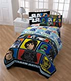 5pc Star Wars Character Comforter Twin Set, Logo Patchwork Picture Characters Bedding, Starwars Movie Space Themed, Luke Skywalker Yoda Darth Vader R2D2 C3PO