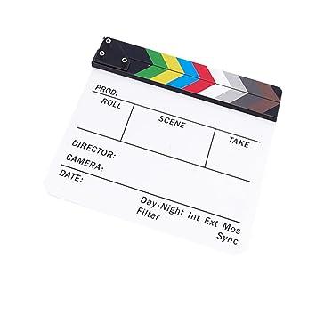 Claqueta de Cine Clapboard Tabla de Pizarra Plástica Acrílica 300 * 245 * 3 mm Vario Colores - Claqueta Blanca con Raya Colorida