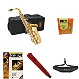 #6: Jean Paul USA AS-400 Student Alto Saxophone with Rico Reeds Strength 2.5 (10 pack), Neck Strap, Pad Saver, and Book