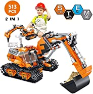 VATOS Building Sets for Kids, Building Kit for Boys 6 7 8 9 10 11 12 Years Old, 513 PCS 2 in 1 Excavator or Dr