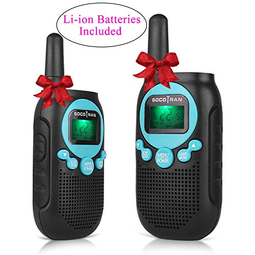 (Rechargeable Walkie Talkies FRS/GMRS Radio Up to 5 Mile Range Kids Walkie Talkies Pair Pack 22CH 0.5W License Free Two Way Radio with Privacy Code Walkie Talkies Toy (Blue) SOCOTRAN)