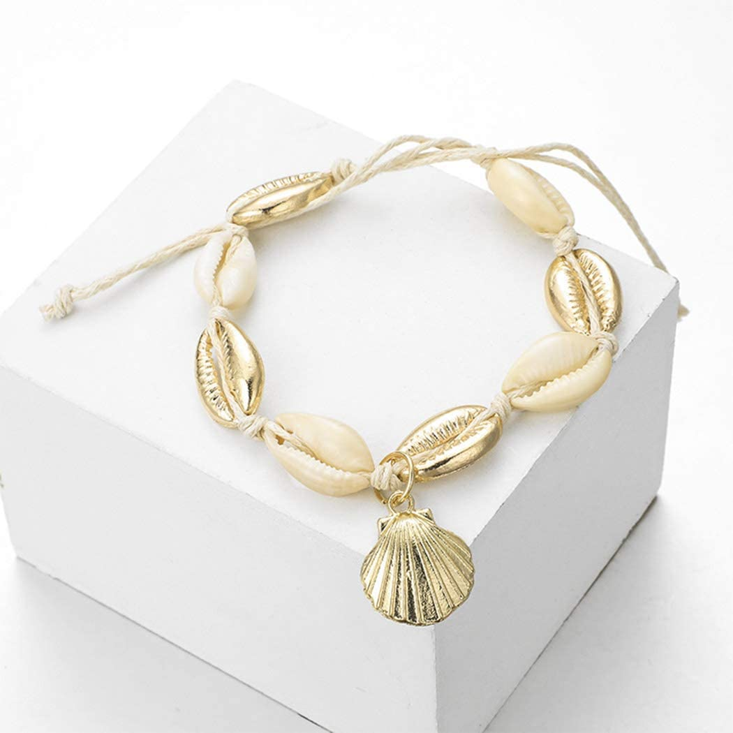 Brishow Cowrie Shell Shape Gold Anklet Bracelet Beach Jewelry Accessories for Women and Girls