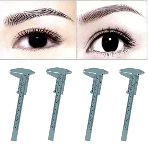 Calipers, Hatop 4PC Microblading Reusable Makeup Measure Eyebrow Guide Ruler Permanent Tools