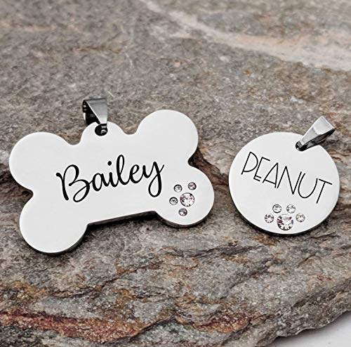 - Pet ID Tag Custom Engraved Bone OR Circle with rhinestones - Choose your font - DOUBLE sided engraving included