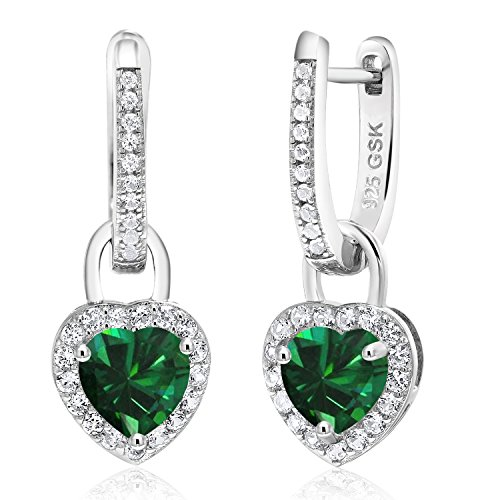 - Gem Stone King 1.86 Ct Green Simulated Emerald White Created Sapphire 925 Silver Earrings