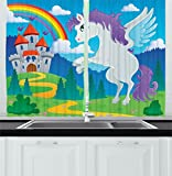 Ambesonne Kids Decor Kitchen Curtains, Fantasy Myth Unicorn with Rainbow and Medieval Castle Fairy Tale Cartoon Design, Window Drapes 2 Panels Set for Kitchen Cafe, 55 W X 39 L Inches, Multicolor