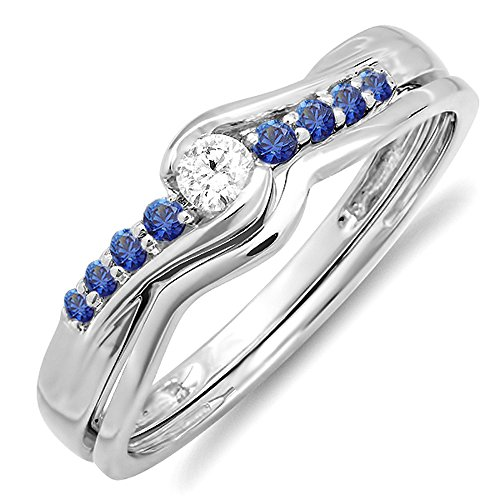 10K-White-Gold-Round-Blue-Sapphire-And-White-Diamond-Ladies-Bridal-Promise-Engagement-Wedding-Band-Set