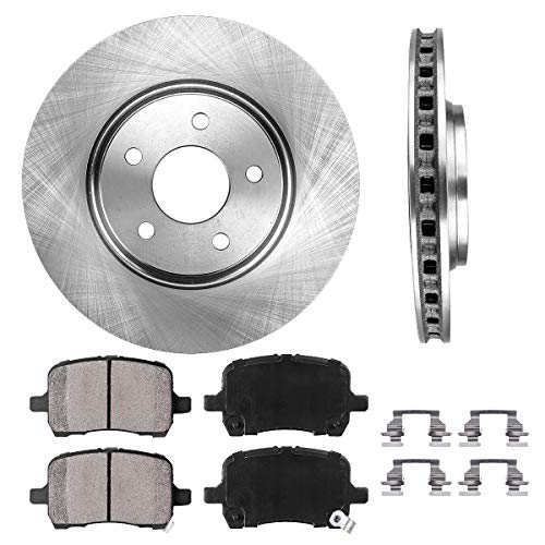 FRONT 295.8 mm Premium OE 5 Lug [2] Brake Disc Rotors + [4] Ceramic Brake Pads + Clips
