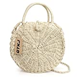QTKJ Summer Beach Round Rattan Bag, Hand Woven Bali Straw Tote Crossbody Handbag for Womens
