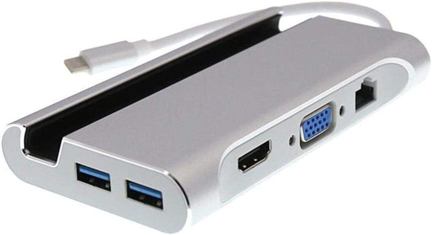 SUPERLOVE Hub multifuncion 7 en 1 USB C a 4K HDMI VGA Rj45 ...