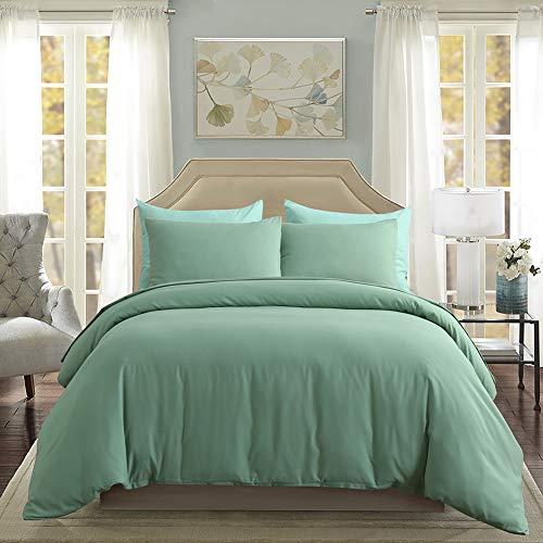 3 Pieces Green Bedding Sea Green Duvet Cover Set Microfiber Bedding Sets Queen (90