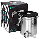 Coffee Gator Stainless Steel Container - Canister with co2 Valve, Scoop, eBook and Travel Jar - Medium, Stainless Steel