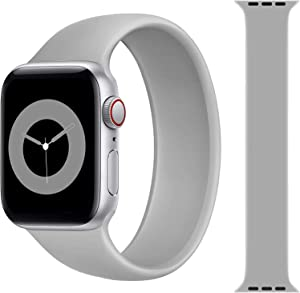 Solo Loop Strap Compatible with Apple Watch Band 38mm 40mm 42mm 44mm, Sport Elastics Silicone Apple Watch Bands Women Men, Replacement Wristband for iWatch Series 6 5 4 3 2 1 SE (Grey 42L)