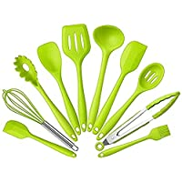 Set of 10 Silicone Non-toxic Non-stick Kitchenware Kitchen Utensils Series Home Cooking Tools Include Tong, Whisk, Brush, Slotted spoon, Pasta fork, Slotted spatula
