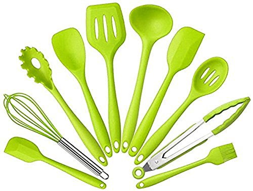 Ensemble de 10ustensiles de cuisine en silicone, non-toxique, ne collent pas, matériel de cuisine, série d'ustensiles pour la cuisine à la maison, comprenant une pince, un fouet, une brosse, une écumoire, une fourchette à pâtes, une spatule à trous vert product image