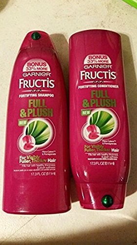 Bonus Plush (Garnier Fructis Full & Plush Shampoo and Conditioner Set (17.3 Fl Oz) Bonus 33% More Then 13 Fl Oz Bottle)