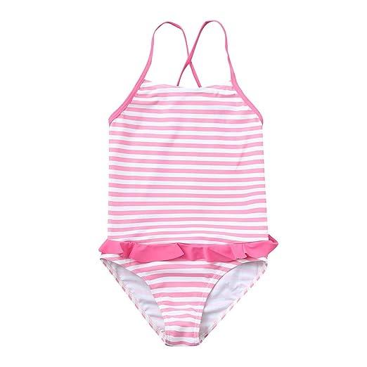 7a724e713802 Amazon.com  Sameno Fashion Kids Girls Ruffles Striped Print Summer ...