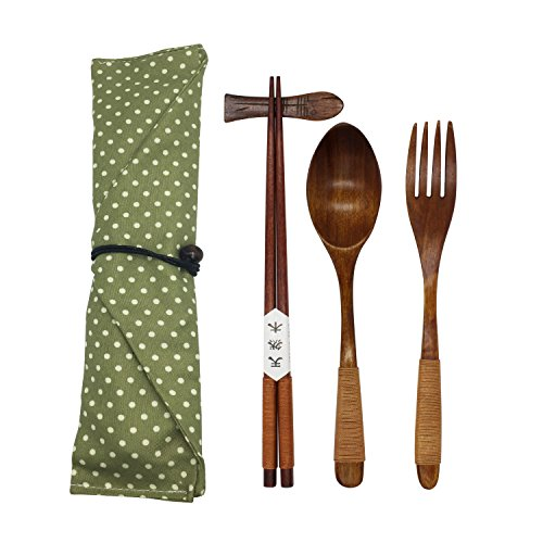 Japanese Natural Wooden Tableware Sets of 5-pieces (1 Spoon, 1 Chopsticks, 1 Fork, 1 Chopsticks Holder, 1 Tableware Bag) (Q15109)