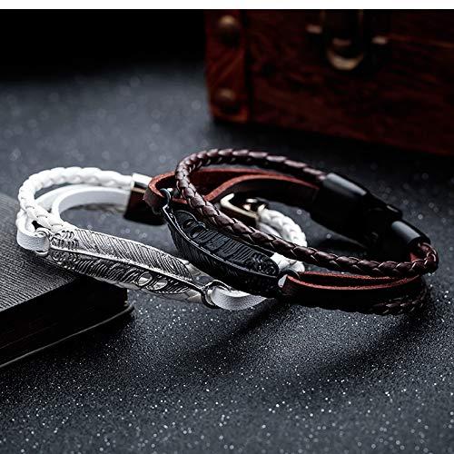 White USUASI Mens DIY Handmade Leather Bracelet Genuine Woven Feather Style Metal Wristband