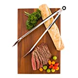 "Commercial Tongs with Rubber Grip - Large 16"" Heavy Duty Kitchen Tongs - Stainless Steel - Let Lux - 1ct Box - Restaurantware"