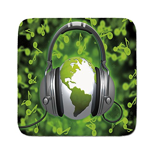 Cozy Seat Protector Pads Cushion Area Rug,World,World of Music Themed Composition DJ Headphones Musical Notes and Earth Globe Decorative,Lime Green Grey,Easy to Use on Any ()
