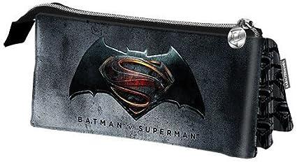 Estuche escolar Triple Batman Vs Superman Justice 22 x 12 x 7 cm.: Amazon.es: Oficina y papelería